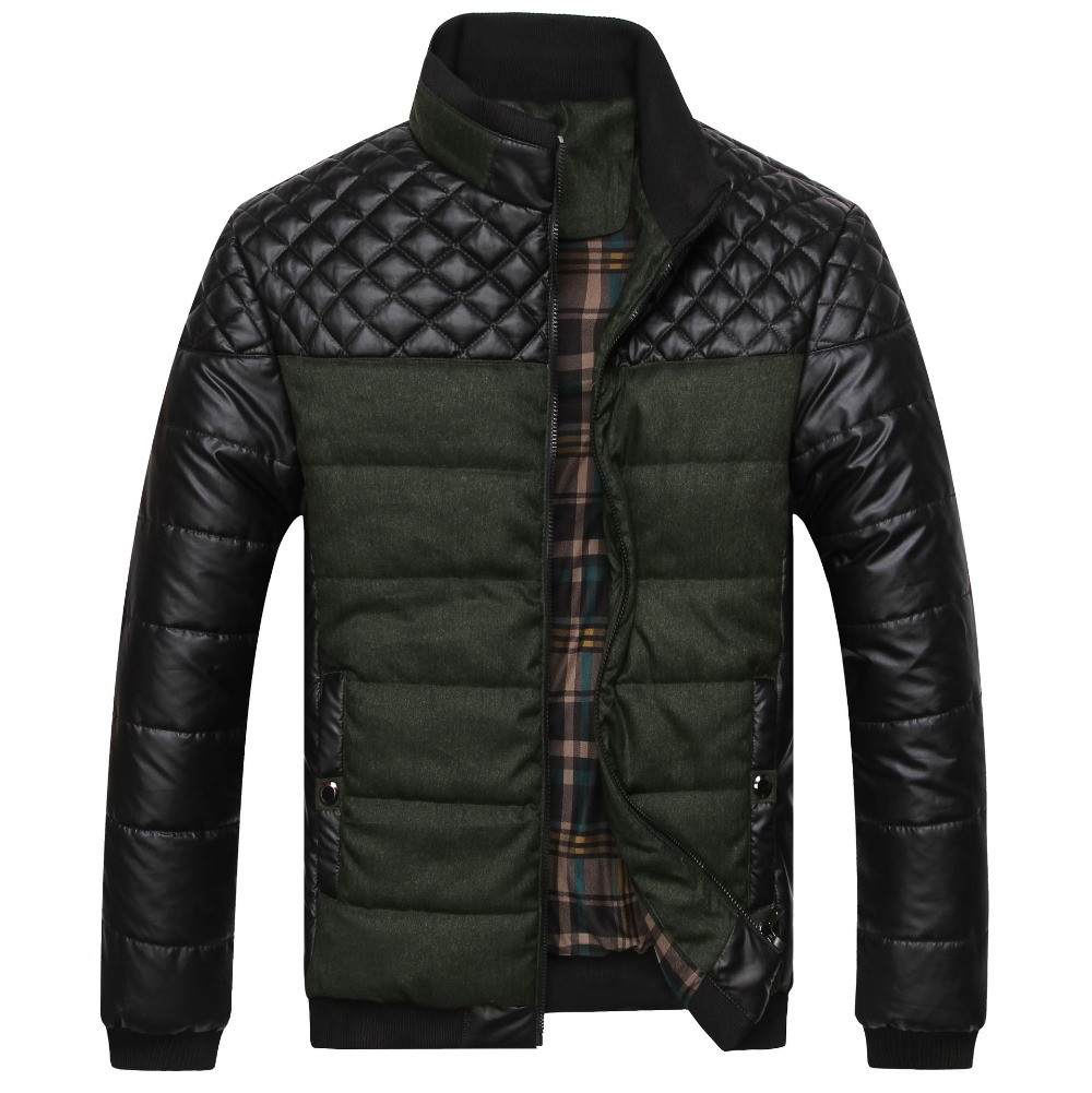 2017 New Men Fashion Patchwork Warm Autumn Jackets Plaid Brief Stand Collar High Quality Leisure