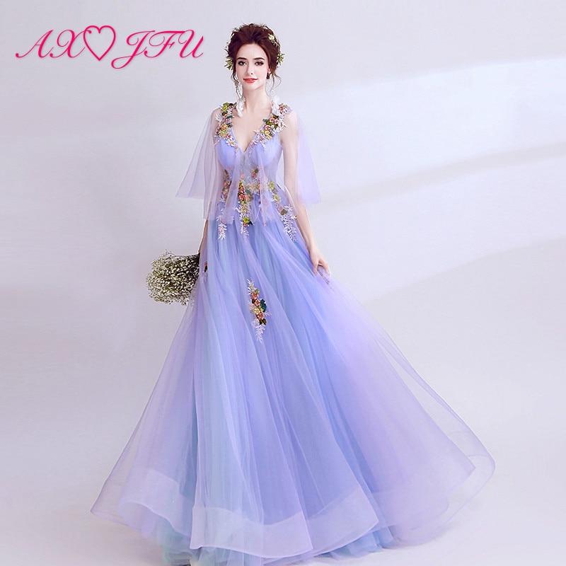 AXJFU princess purple lace flower   evening     dress   beading lot of flower v neck illusion ruffles beach lace   evening     dress   2122