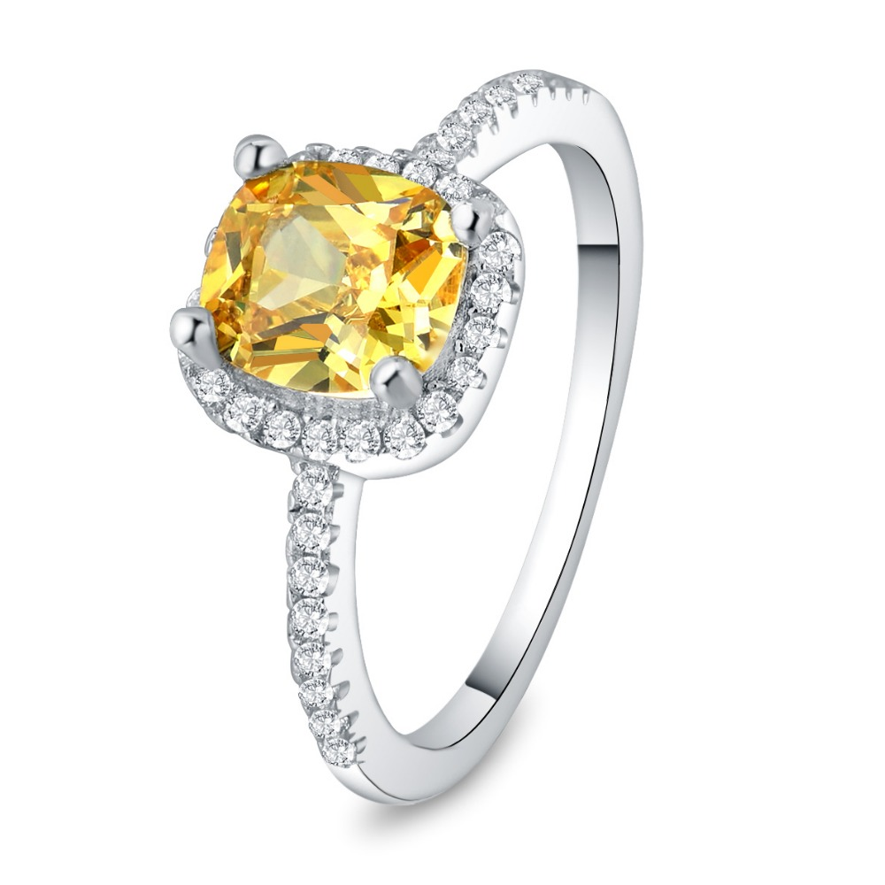 S925 Sterling Silver Wedding Rings For Women Fine Jewelry Yellow Cubic Zirconia Ring Bridal Engagement Bijoux Femme Accessories