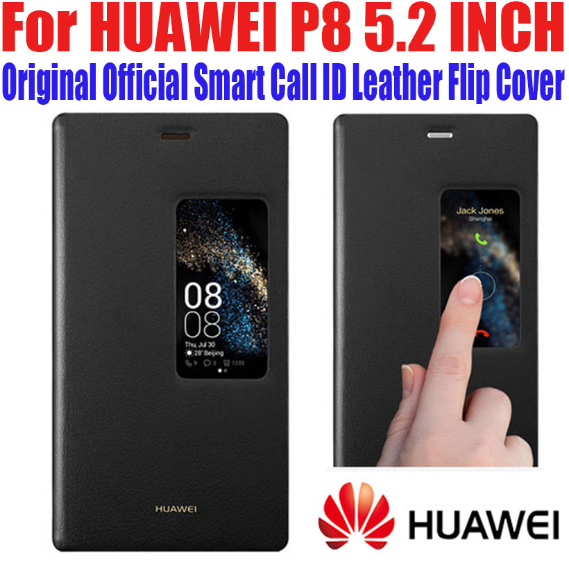 Case For HUAWEI P8 100% Original Official Smart View Case Call ID Leather flip Cover for HUAWEI P8 5.2 INCH +Screen Film P82