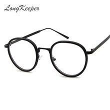 cc752842142c3 LongKeeper Small Round Nerd Glasses Clear Lens Unisex Gold Round Metal  Frame Glasses Frame Optical Men Women Black UV Gafas