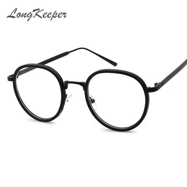 e9661d88d9 LongKeeper Small Round Nerd Glasses Clear Lens Unisex Gold Round Metal Frame  Glasses Frame Optical Men Women Black UV Gafas