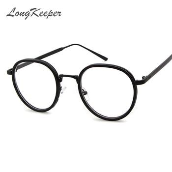 75ff9da49a Longkeeper ronda pequeño nerd Gafas lente transparente unisex ronda oro  metal Marcos Gafas Marcos óptico hombres mujeres negro UV gafas