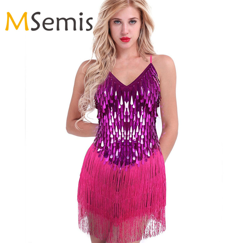 Adult Women Spaghetti Straps Sparkling Sequins Fringe Party Dancewear Gowns Rhythm Ballroom Samba Rumba Tango Latin Dress Women