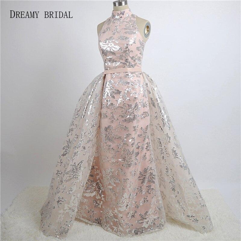 Dreamy Bridal Luxury Sequined Lace Evening Dresses Halter Hand Pleated Custom  Made Vestido De Festa 2017 from Yousef Aljasmi 22622ade6071