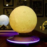 3D принт левитации Moon лампа Magnetic Floating светодиодный ночник левитации игрушка в подарок Беспроводной Питание Творческий лунный свет