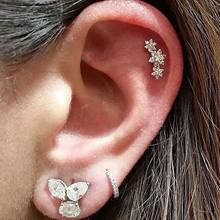 2019 Female Snowflake Stud Earrings Real fine 100% 925 Sterling Silver Jewelry High Quality AAA Zircon Double Earrings For Women(China)