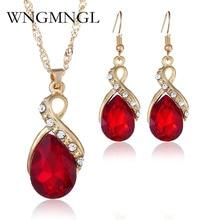 WNGMNGL 2018 New Women Bridal Wedding Jewelry Set Charm Crystal Water Drop Pendant Necklaces Earrings Sets Shiny bijoux femme цены онлайн