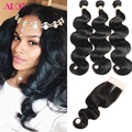 Brazilian Virgin Hair Body Wave With Closure 8A Grade Unprocessed Human Hair Weave With Closure Brazilian Body Wave With Closure