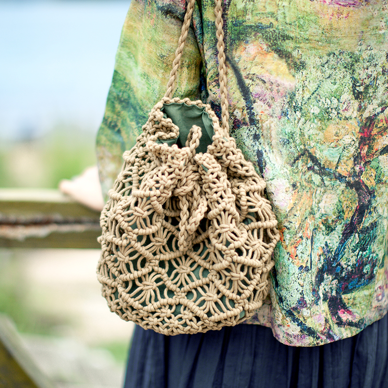 Vintage Woven Backpack Cotton Rope Bucket Small Straw Bag Vacation Travel Mini Fresh Backpack Hand-woven Bags #1