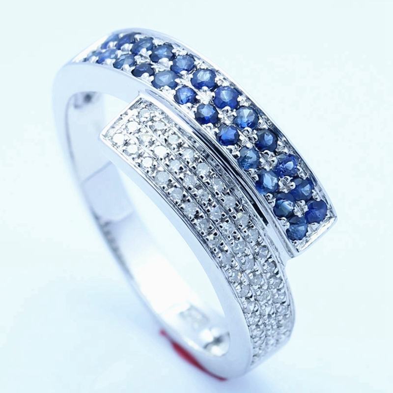 HELON 0.6ct Natural Diamonds & sapphire Ring Sterling Silver 925 Engagement Wedding Ring Anniversary Gemstone Fine Jewelry Band