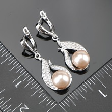 Natural Pearl Silver 925 Bridal Jewelry Sets Women Jewellery With Zircon Pearls Set of Earrings Pendant Necklaces Ring Gift Box