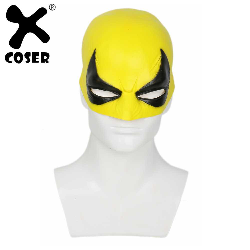 XCOSER Iron Fist Mask Cosplay Costumes Props Yellow Deluxe Latex Masks  Adult Cool Cosplay Accessories For