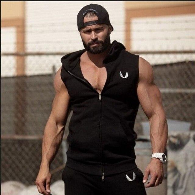 Men Cotton Hoodie Sweatshirts fitness clothes  bodybuilding tank top men Sleeveless Tees Shirt Casual golds