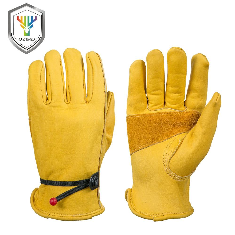 OZERO nouveaux gants de travail pour hommes en cuir de vachette Protection de sécurité porter sécurité travail soudage gants chauds pour hommes 0003