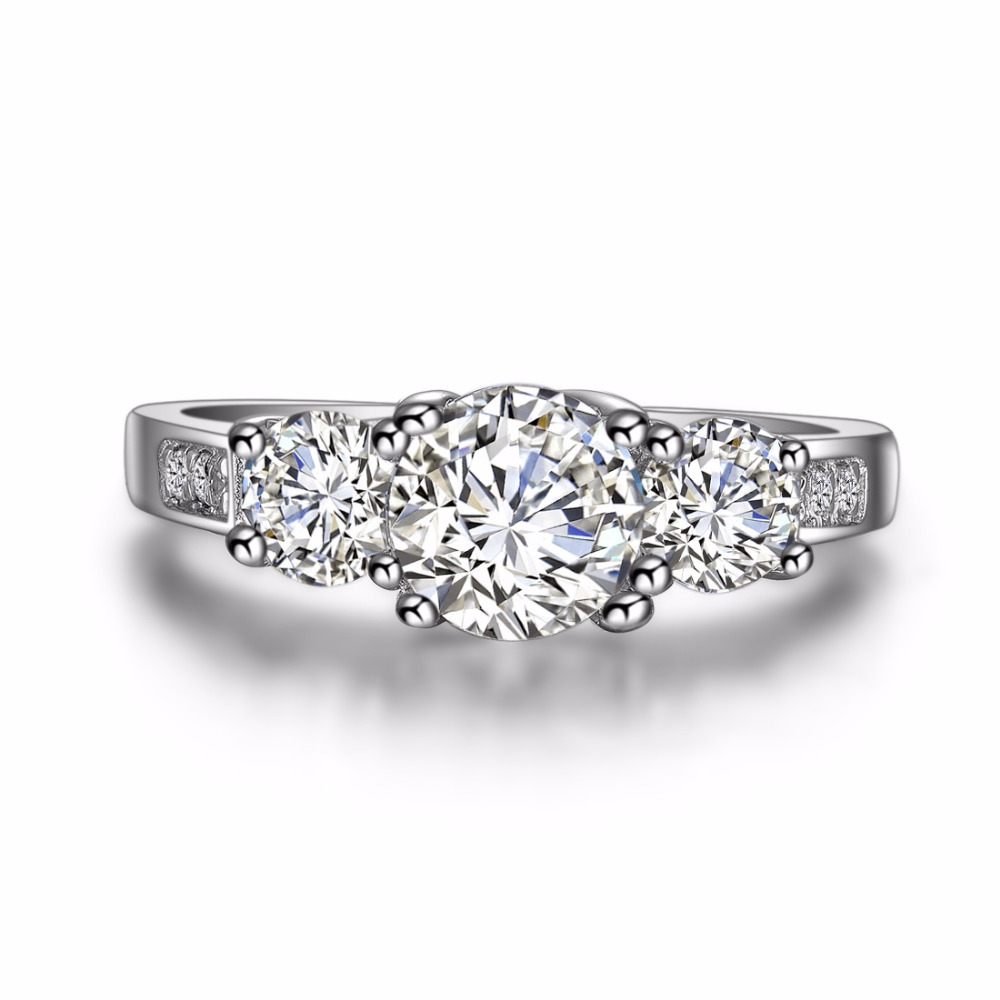 5f82c2b9b45 Wholesale Ring Three Stone Brand 1.7 Carat Synthetic Diamonds Ring for  Women Engagement Sterling Silver Jewelry White Gold Cover