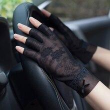 Woman Gloves Summer Sunscreen Half Finger Ice Silk Gloves Female Lace Short Style Non-Slip Anti-UV Thin Driving Semi-Finger FS07 цена