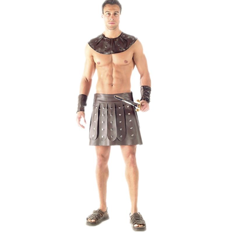 Męskie Spartakus Roman Barbarzyńca Gladiator Kostium Halloween Kostium dla mężczyzn Acient Warrior Sexy Mens Costume