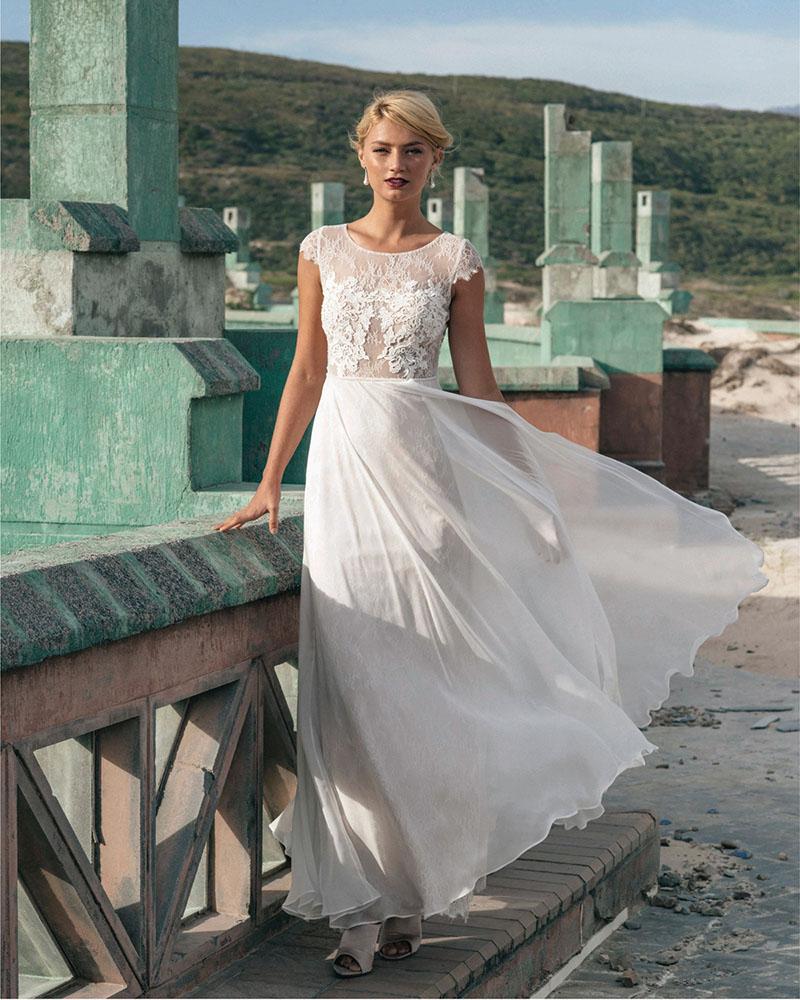 d4f5fba661d5 Chiffon Lace Beach Wedding Dress - raveitsafe