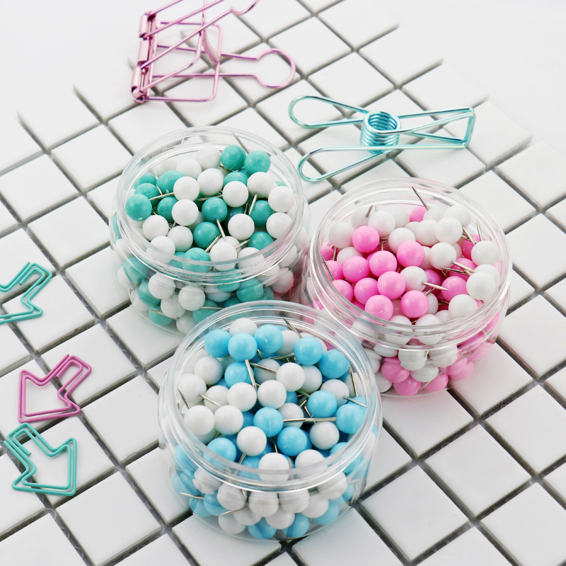 TUTU Little Sweety 150pcs/Set New Office Thumbtacks PushPins Metal Pin Office School Supplies Cork Wall Nails Photo Wall H0027