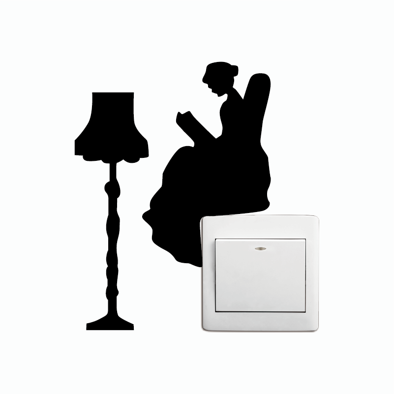 KG-258 Reading Lady with Lamp Switch Sticker Cartoon Reader Silhouette Wall Decal Home Wallpaper