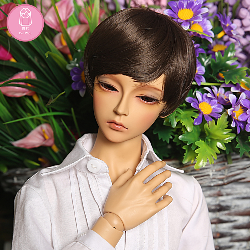 BJD Wig 1/3 High-temperature short hair brown black colors Hair For Dolls Charge L20#22-24cm Extra Doll Accessories beioufeng 22 24cm 1 3 bjd wig long curly wigs accessories for dolls synthetic doll hair deep coffee color doll wig for dolls