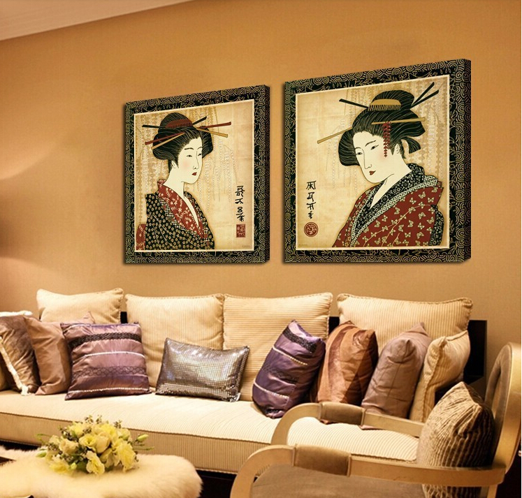Classical Japanese Painting Wall Decor Prints Pictures Portrait Woman  Japanese Oil Painting Art Canvas for Room