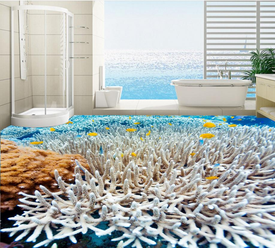 Home decor 3d wall paper for bathroom custom 3d floor photo wallpaper sea of white coral fish pvc self adhesive wallpaper