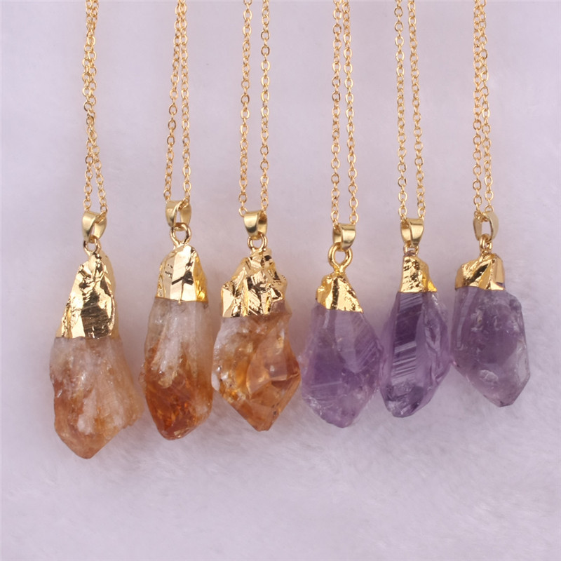 seven chakra Random Size Trendy Natural Pendant Crystal Irregular Quartz Crystal Necklaces for Women gifts Natural Stone Jewlery