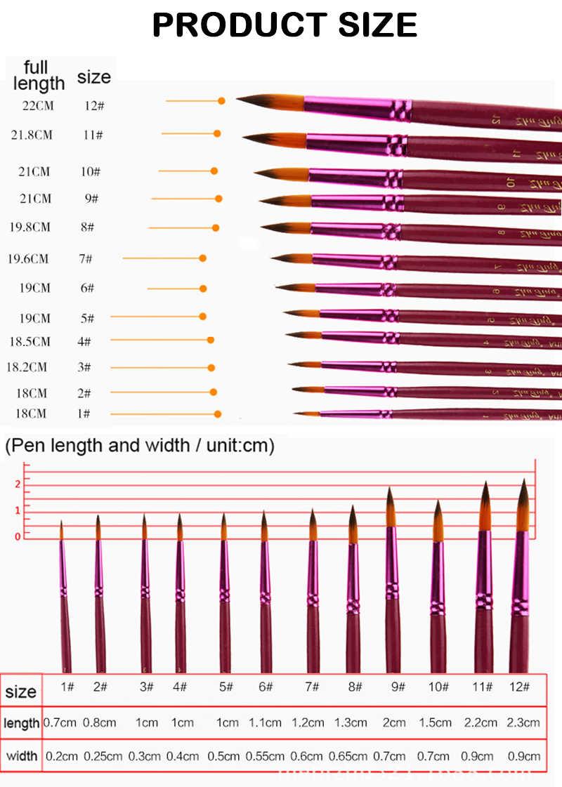 12 шт. художественные различные размеры тонкие нейлоновые кисти для рисования набор для акварели акриловые кисти для живописи маслом Рисование художественные принадлежности