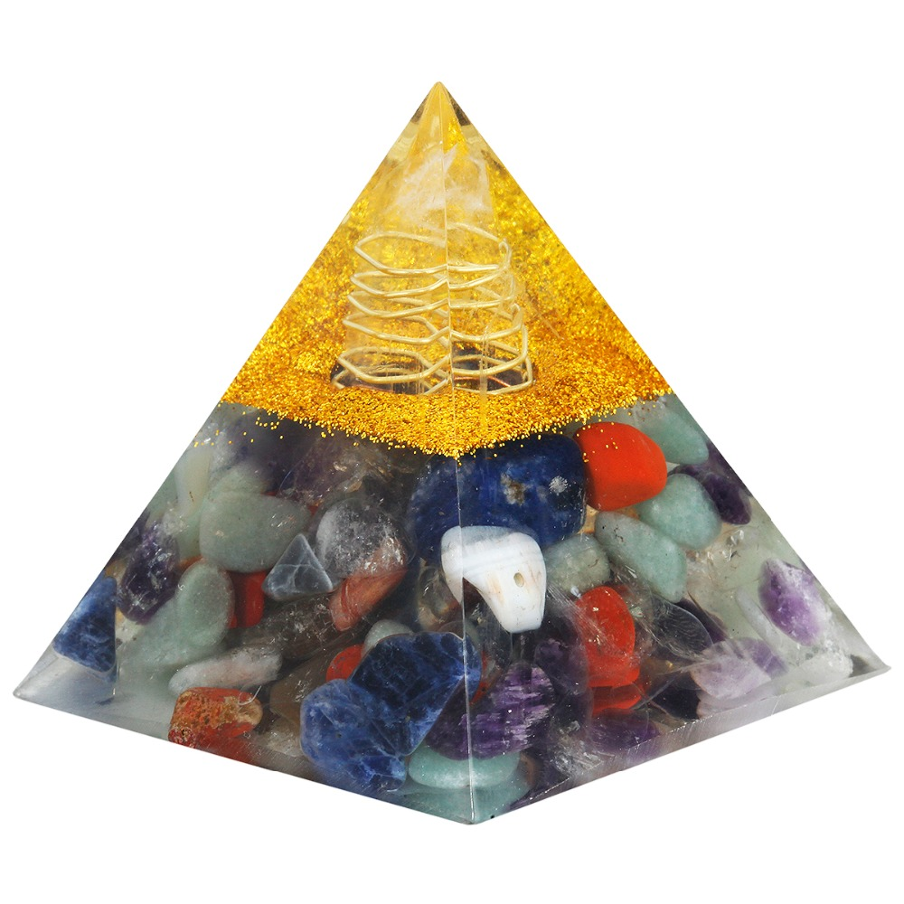 TUMBEELLUWA 7 Chakra Stone Clear Crystal Point Orgone Pyramid,Healing Reiki Energy Pyramid 60mm natural stone carved opalite opal pyramid symbol rose quartzs point chakra healing reiki crystal free pouch