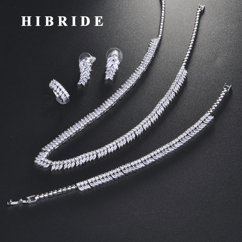 HIBRIDE Elegant Style Sparkling Cubic Zircon Jewelry Sets For Women Bridal Wedding Accessories Fashion Jewelry Wholesale