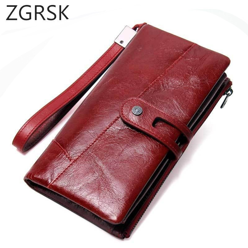 Women Clutch Leather Male Wallet Men Genuine Female Long Wallet Women Wallets Zipper Mens Purse For Money Bag Coin Purse Handy