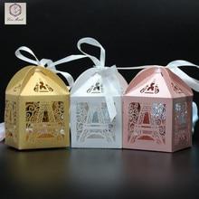 50pcs Eiffel Tower Wedding Box Pairs Tower Candy Box Wedding Favors Gift Box Chocolates Box Wedding Party Decoration Wedding