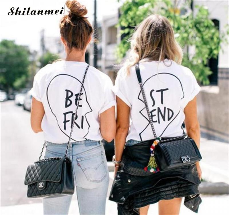 buy summer best friends t shirt women 2017 casual black white short sleeve. Black Bedroom Furniture Sets. Home Design Ideas