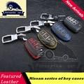 Car Genuine Leather Remote Control Car Keychain Key Cover Case for Nissan Tidda Livida X-Trail Qashqai Teana March,car styling
