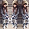 Мода Дети Ребенок Девушки Полосатый С Длинным Рукавом T-Shirt Dress Повседневную Одежду для 1-6Y Девушки Повседневная Пуловер Одежда