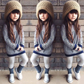 Fashion Kids Child Girls Striped Long Sleeve T-shirt Dress Casual Clothes for 1-6Y Girls Casual Pullover Clothes