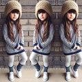 Moda infantil criança meninas listrada de manga comprida t-shirt dress roupas casuais para 1-6a meninas casuais roupas pullover