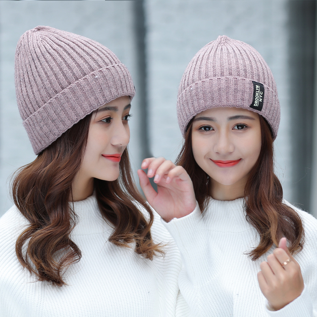5d67fde3095ee 2017 Fashion Women s Knitted Winter Hats Solid color Skullies Beanies Caps  hat Hip hop Knitted Bean