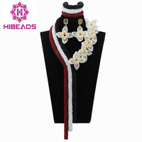 Fantastic White Flower Blossom Indian Wedding Bead Statement Necklace Set African Fashion Women Jewelry Set Free Shipping ABL546