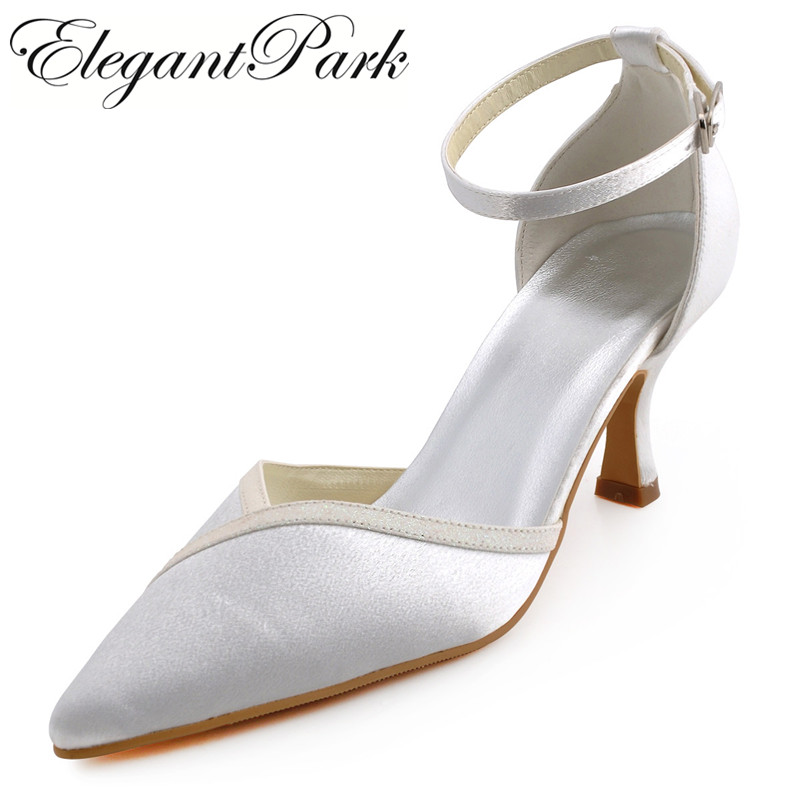 A1006 Women Ivory Pointed Toe Mid Heel Ankle Strap Shoes Satin Lady Bride bridesmaids Prom Party Wedding Bridal Pumps White
