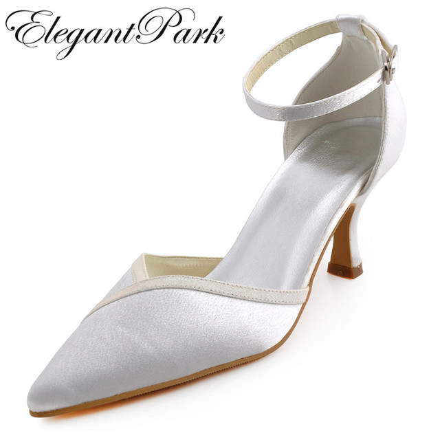 3955ca68d A1006 Women Ivory Pointed Toe Mid Heel Ankle Strap Shoes Satin Lady Bride  bridesmaids Prom Party Wedding Bridal Pumps White