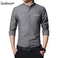 New Fashion Casual Men Shirt Long Sleeve Mandarin Collar Slim Fit Shirt Men Korean Business Mens Dress Shirts Men Clothes M 5Xl