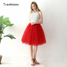 6 Layers Knee Length Tulle Skirt Elegant Pleated Red Tutu Skirts Womens Vintage Lolita Petticoat faldas mujer Saia Jupe