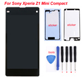 For Sony Xperia Z1 Mini Compact D5503 M51W LCD Display Touch screen digitizer assembly + Tools + 2x stickers Black free shipping