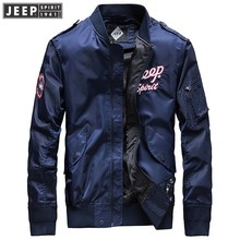 JEEP SPIRIT 2018 Autumn Spring Brand Cargo Jackets Coat Stand Collar Bomber Clothes Long Sleeve Solid Color Fashion Jacket
