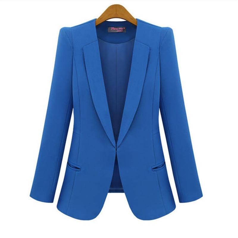 XS-4XL Women Blazer Spring -Autumn Long Sleeve Casual Suit Jacket 8 Size 6 Candy Color Jackets/ Blazer/ Business Suits A343