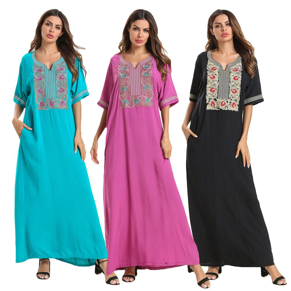 Ethnic Kaftan Embroidery Short Sleeve Abaya Women Jilbab Muslim Party Dress Loose Tunic Robe V-Neck Summer Dubai Ramadan Fashion