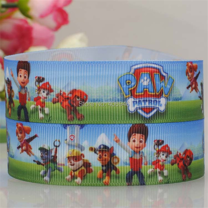 5y 7/8' Paw Dog Cartoon DIY Grosgrain Ribbon Korea 22mm Single Face Polyester Kids Hairbow Decorative Arts and Crafts